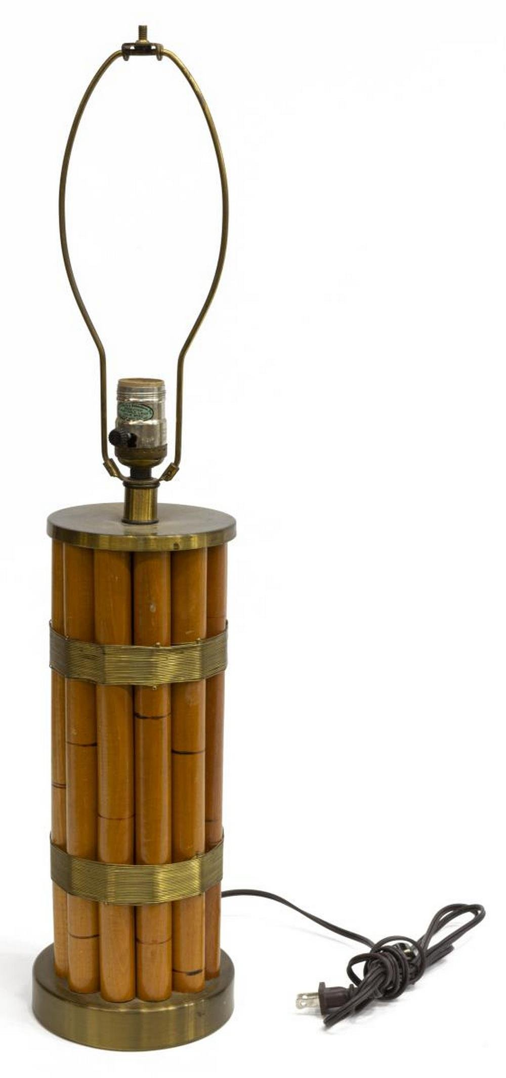 RUSSEL WRIGHT MID-CENTURY BAMBOO BRASS TABLE LAMP