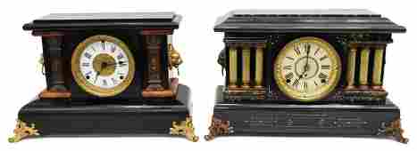 (2) AMERICAN MANTEL SHELF CLOCKS, SETH THOMAS