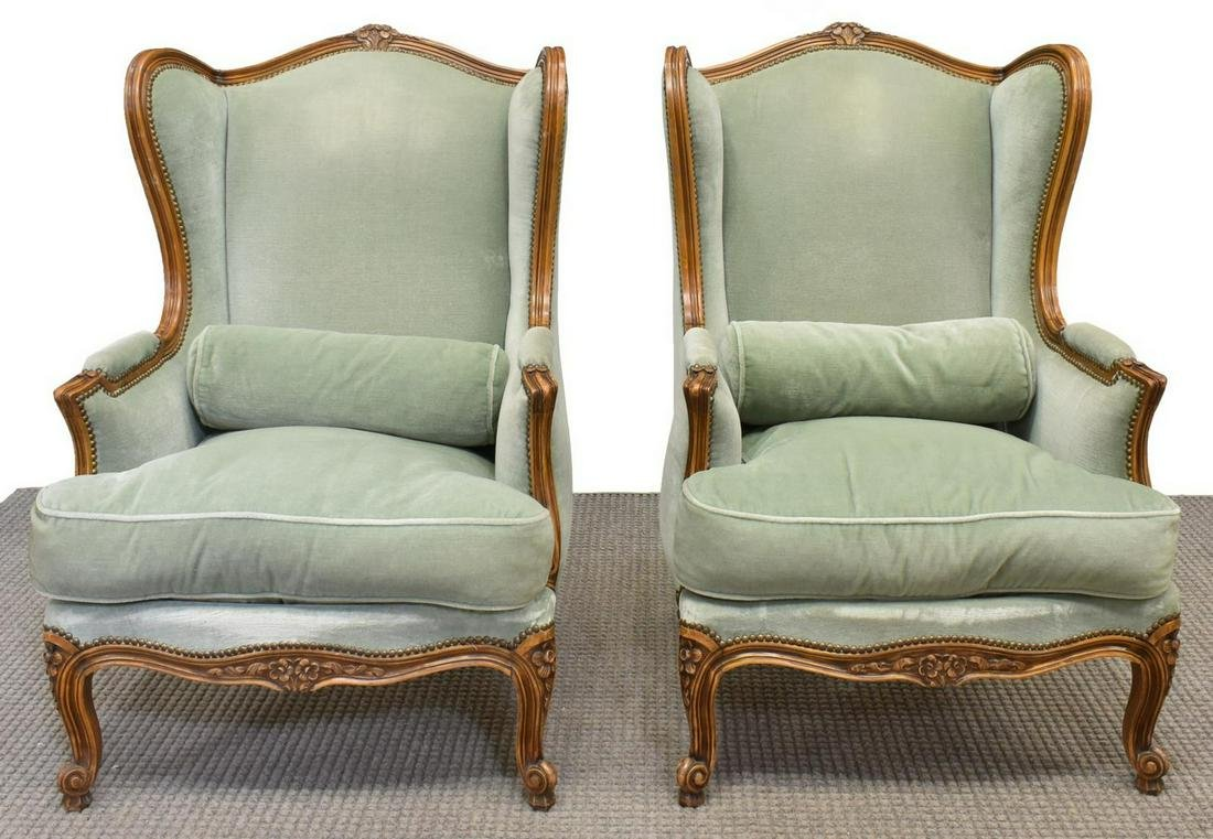 (2) LOUIS XV STYLE UPOHOLSTERED WINGBACK ARMCHAIRS