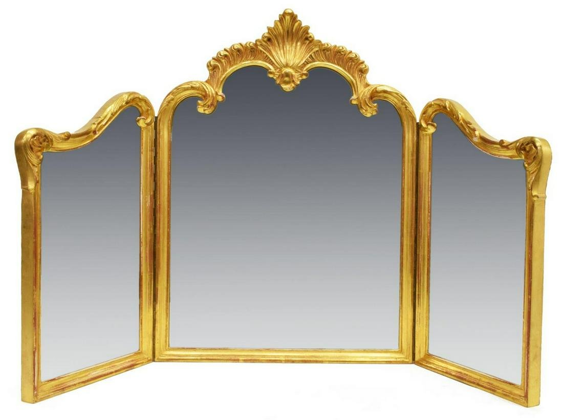 FRENCH LOUIS XV STYLE GILTWOOD TRIFOLD MIRROR