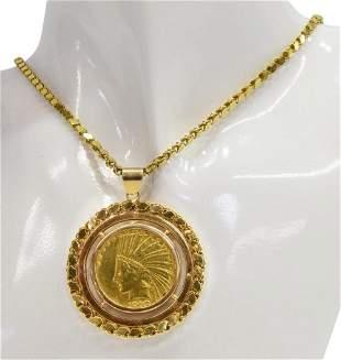 TEN DOLLAR LIBERTY INDIAN HEAD GOLD COIN NECKLACE