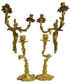 4 LOUIS XV STYLE BRONZE SCONCES  CANDLESTICKS