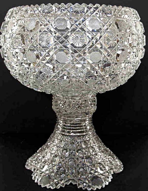 710: AMERICAN BRILLIANT CUT GLASS HARVARD PUNCH BOWL
