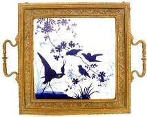 711 19TH C AESTHETIC BLUE WHITE TILE BRASS TRAY BIRDS