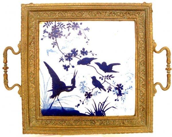 711: 19TH C AESTHETIC BLUE WHITE TILE BRASS TRAY BIRDS