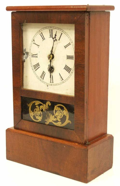 717: UNUSUAL ANTIQUE E.N. WELCH MAHOGANY COTTAGE CLOCK