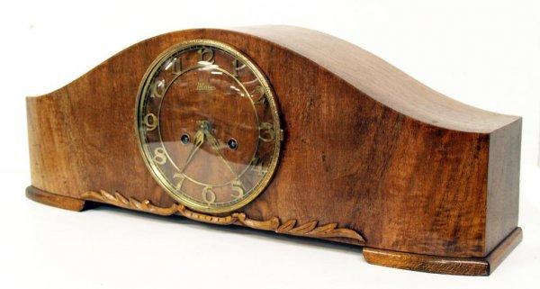 719: CLASSIC ANTIQUE GERMAN MAIER WALNUT MANTLE CLOCK