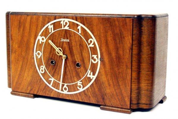 722: JUNGHANS ART DECO MIXED WOOD MANTLE CLOCK