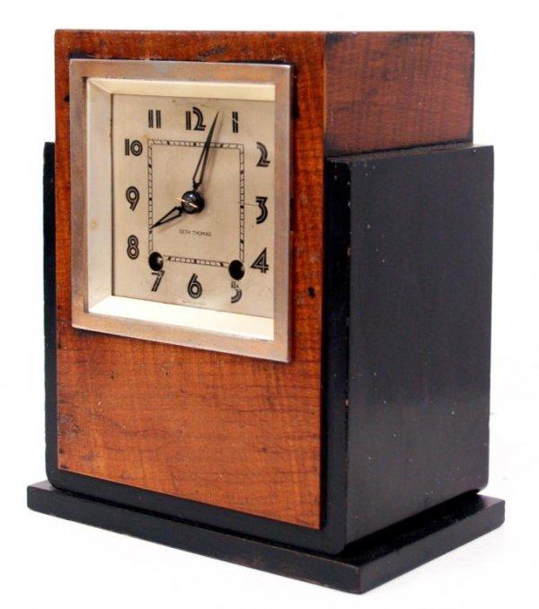 723: ART DECO SETH THOMAS WOOD CASE MANTLE CLOCK