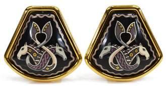 HERMES ENAMEL GOLD-PLATED CLIP-ON EARRINGS