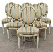 (6) LOUIS XVI STYLE PAINTED MEDALLION SIDE CHAIRS