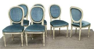 (6) FRENCH LOUIS XVI STYLE PAINTED SIDE CHAIRS