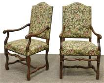 (2) FRENCH LOUIS XIV STYLE HIGHBACK FAUTEUILS