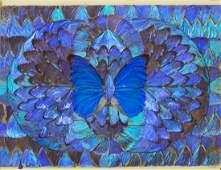 FRAMED IRIDESCENT GIANT BLUE MORPHO BUTTERFLIES
