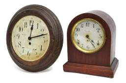 2 SETH THOMAS SHELF  PRESSED METAL WALL CLOCKS
