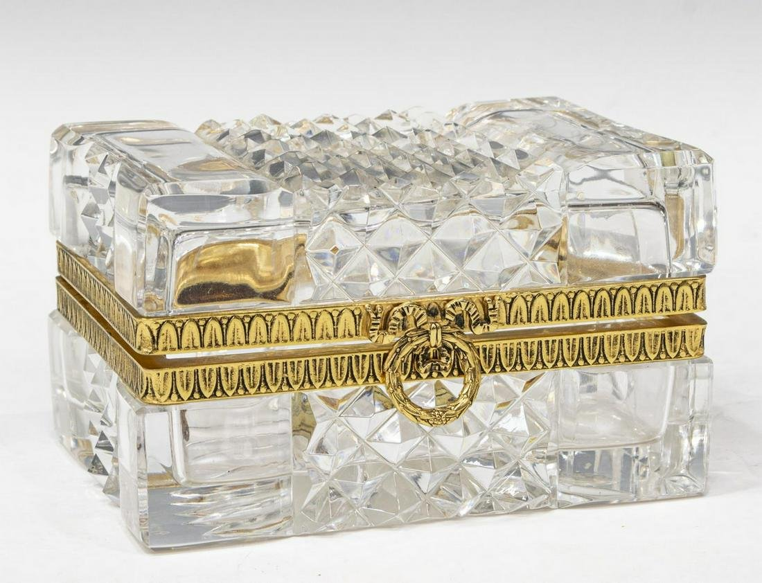 FRENCH MARTIN BENITO CUT CRYSTAL JEWELRY CASKET
