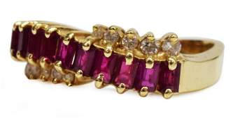 ESTATE 14KT YELLOW GOLD RUBY  DIAMOND RING