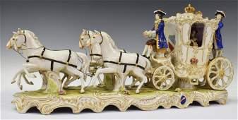 VOLKSTEDT DRESDEN PORCELAIN HORSES & CARRIAGE