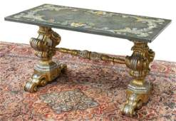 BAROQUE STYLE SILVER GILT FAUX STONE TOP TABLE