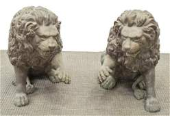 2 LARGE PATINATED BRONZE SEATED LION FIGURES