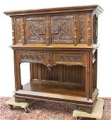 FRENCH GOTHIC REVIVAL CARVED WALNUT CABINET