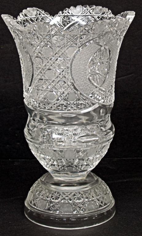 101: CUT GLASS VASE DOME FOOT, STAR & CANE PATTERN