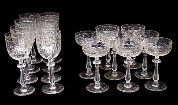 102: CUT GLASS ETCHED WINE STEMS & CHAMPAGNE GLASSES