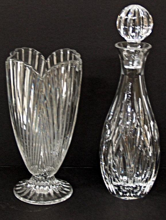 104: WATERFORD CRYSTAL DECANTER & MARQUIS PATTERN VASE