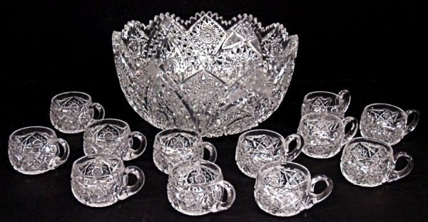 113: BRILLIANT PERIOD CUT GLASS PUNCH BOWL WITH CUPS