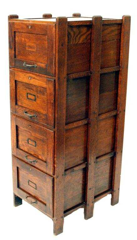 - 152: ANTIQUE WEIS ARTS & CRAFTS OAK FILE CABINET