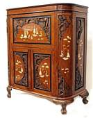 258: CHINESE CARVED, MOTHER OF PEARL INLAID BAR CABINET