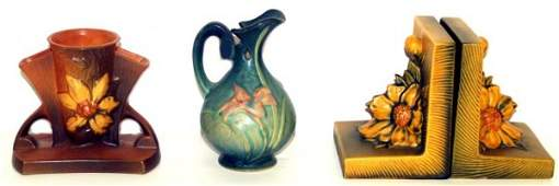 311: ROSEVILLE ART POTTERY PEONY,CLEMATIS GREEN ZEPHYR
