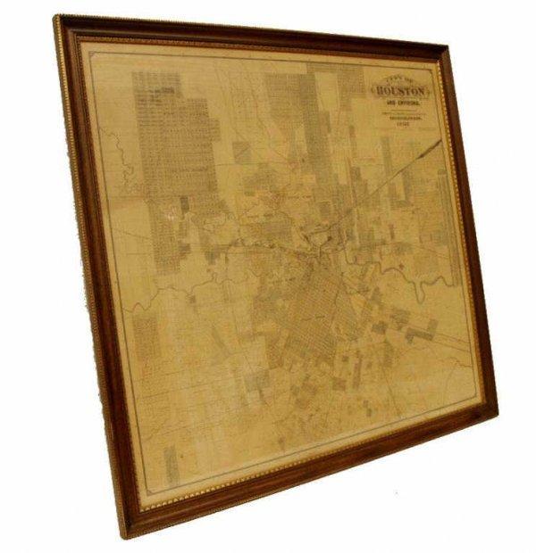 425: ANTIQUE FRAMED MAP, CITY OF HOUSTON TEXAS,1895