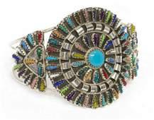 VIOLET BEGAY NAVAJO MULTI STONE PETIT POINT CUFF