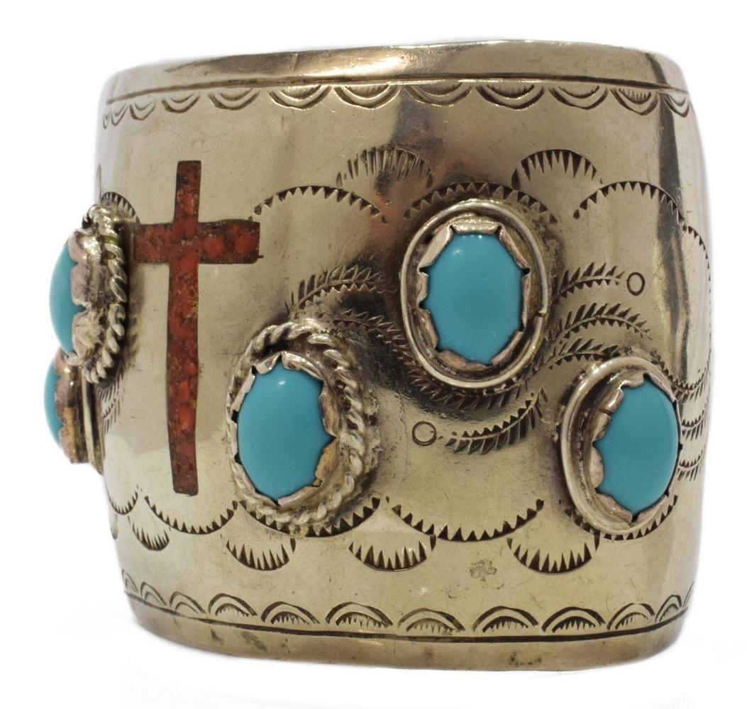 NATIVE AMERICAN RED CORAL CROSS & TURQUOISE CUFF