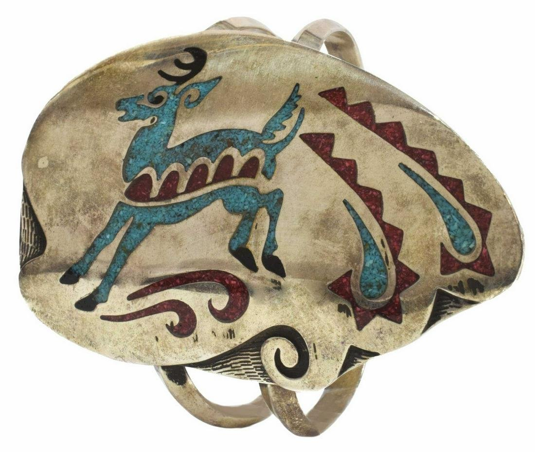 NATIVE AMERICAN TURQUOISE CHIP INLAY DEER CUFF