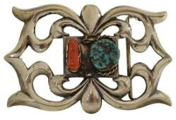 NAVAJO MB SILVER TURQUOISE  CORAL BELT BUCKLE