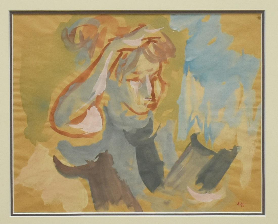 GUSTAV LIKAN (1912-1998) PAINTING WOMAN READING
