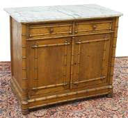 FRENCH MARBLE-TOP PINE & FAUX BAMBOO BUFFET