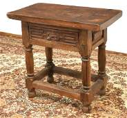 SPANISH BAROQUE STYLE OAK SIDE TABLE 19TH C