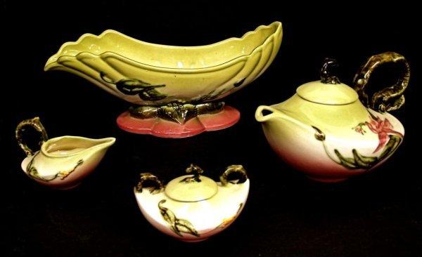 517: HULL ART POTTERY WOODLAND GLOSSY TEA SET & BOWL