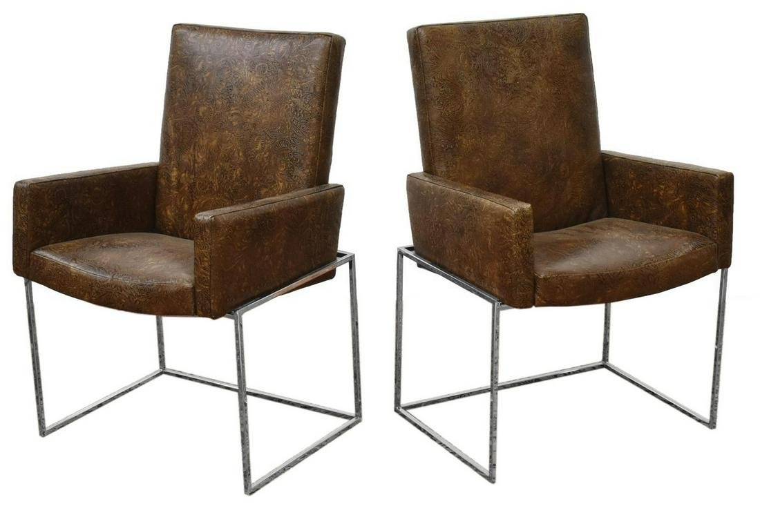 2) MID-CENTURY BAUGHMAN EMBOSSED LEATHER ARMCHAIRS