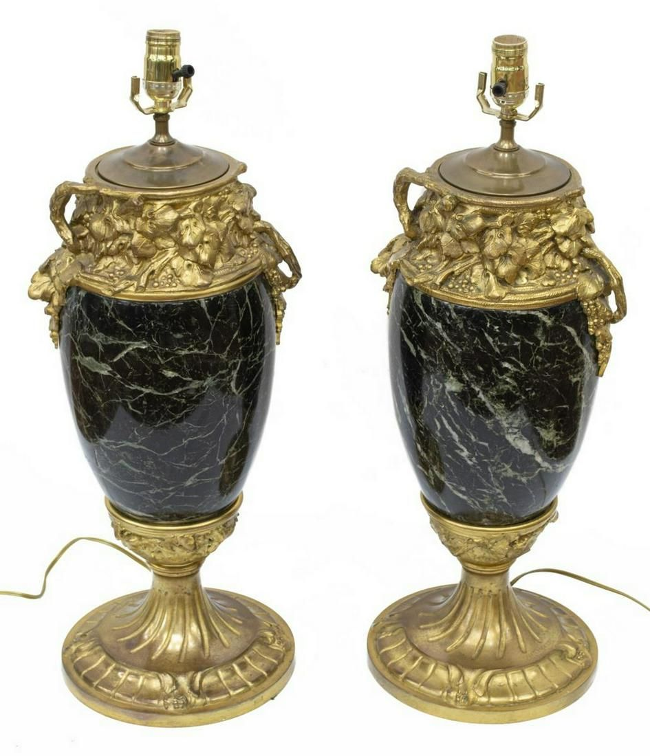 (2) A. MARIONNET BRONZE MOUNTED MARBLE URN LAMPS