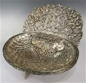 LARGE PERU REPOUSSE SILVER BAPTISM HOLY WATER FONT