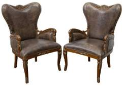 2 HERITAGE COLLECTION LEATHER WING ARMCHAIRS