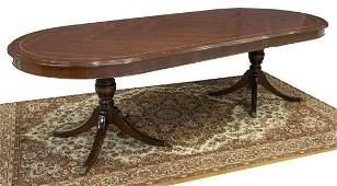 GEORGIAN STYLE MAHOGANY DOUBLE PEDESTAL TABLE