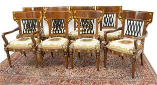 (8) ITALIAN EMPIRE STYLE MARQUETRY DINING CHAIRS