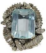 14KT WG, 12.50CT AQUAMARINE & 2CTTW DIAMOND RING