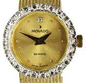 MOVADO 14K GOLD DIAMOND BEZEL WOVEN BRACELET WATCH