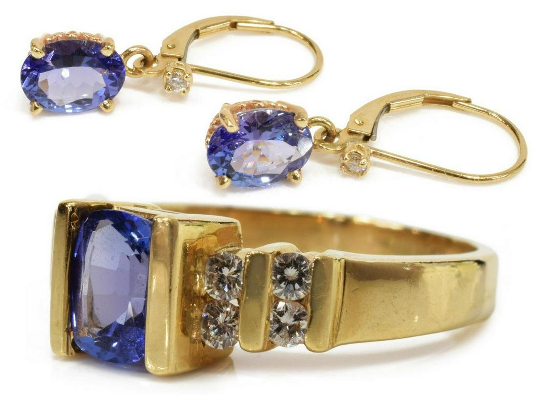 (LOT) ESTATE GOLD & TANZANITE RING & EARRING GROUP